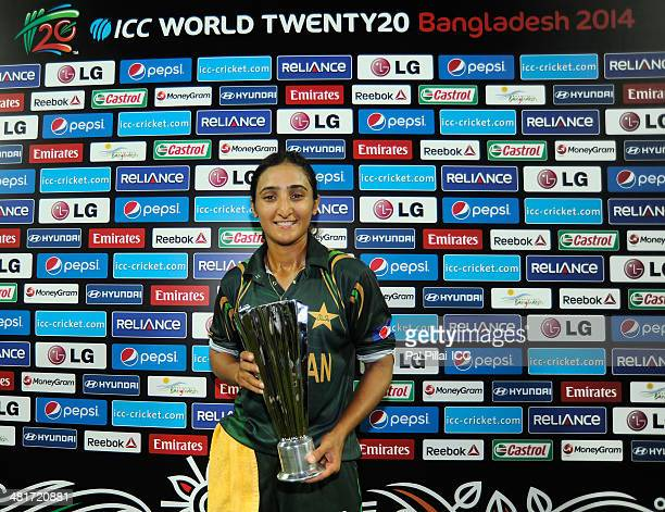 Bismah Maroof of Pakistan poses with the player of the match award during the presentation after the ICC Women's World Twenty20 match between...