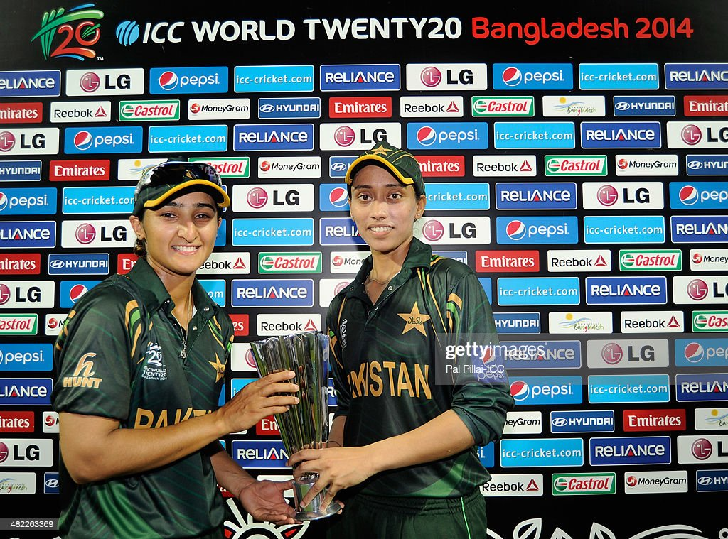 Bismah Maroof of Pakistan (L) poses with the player of the match award which she shared with teammate Syeda Batool (R) during the presentation after the ICC Women's World Twenty20 7th/8th place ranking match between Sri Lanka Women and Pakistan Women played at Sylhet International Cricket Stadium on April 3, 2014 in Sylhet, Bangladesh.