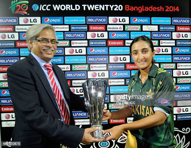 Bismah Maroof of Pakistan receives the player of the match award during the presentation after the ICC Women's World Twenty20 match between Pakistan...
