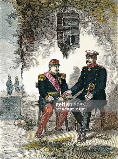 Bismarck conversing with Napoleon III after his capture in the Battle of Sedan September 2 print FrancoPrussian War France 19th century