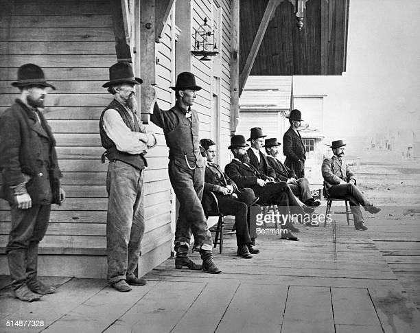 Northern Pacific Depot Bismarck Dakota Territory 1877 Photograph shows group of local men gathered on porch