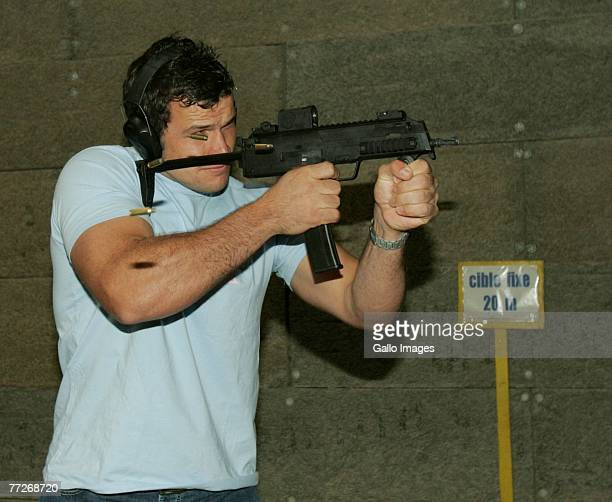 Bismarck du Plessis during the Springboks' visit to a military shooting range on October 11 2007 in Versailles Paris France