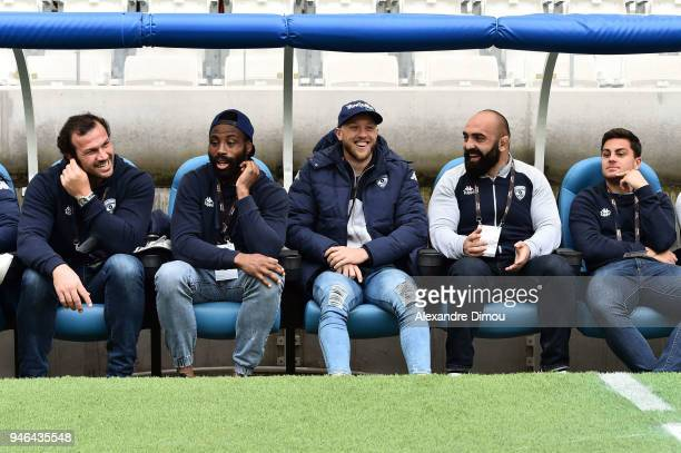 Bismarck Du Plessis Fulgence Ouedraogo Jesse Mogg and Misha Nariashvili of Montpellier during the French Top 14 match between Toulon and Montpellier...