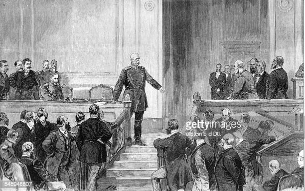 Bismarck Otto von *18151898Politician Germany1862 1890 Minister President of Prussia1871 1890 Reich ChancellorOtto von Bismarck is giving a speech in...