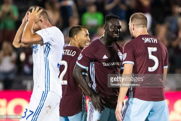 Bismark AdjeiBoateng of Colorado Rapids celebrates a goal against the San Jose Earthquakes with teammate Tommy Smith at Dick's Sporting Goods Park on...