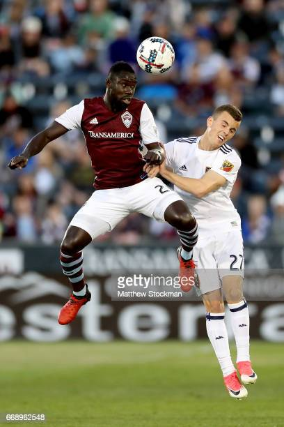 Bismark AdjelBoateng of the Colorado Rapids goes up for a header ainst Brooks Lennon of Real Salt Lake at Dick's Sporting Goods Park on April 15 2017...