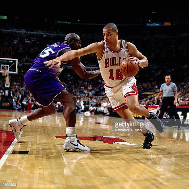 Bison Dele of the Chicago Bulls drives to the basket against the Utah Jazz during game 1 of the 1997 NBA Finals in Chicago IL on June 1 1997 NOTE TO...