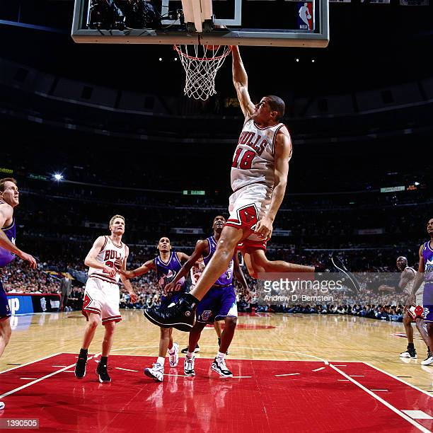 Bison Dele of the Chicago Bulls goes up for a slam dunk against the Utah Jazz during game 2 of the 1997 NBA Finals in Chicago IL on June 4 1997 NOTE...