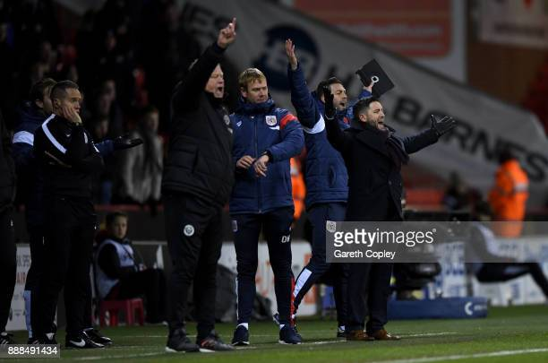 Bistol manager Lee Johnson appeals from the touchline during the Sky Bet Championship match between Sheffield United and Bristol City at Bramall Lane...
