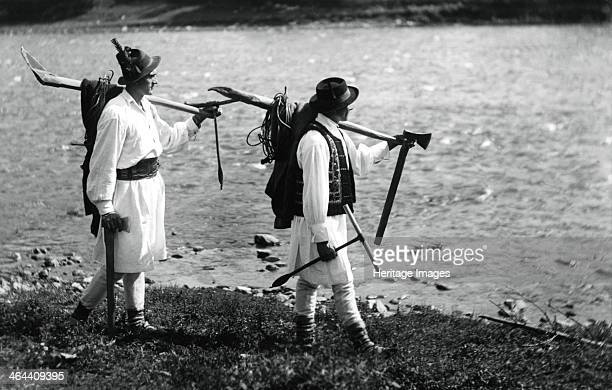 Bistrita Valley Moldavia northeast Romania c1920c1945 Depicting customs and traditional labour in the rural Carpathian Mountains in the first half of...
