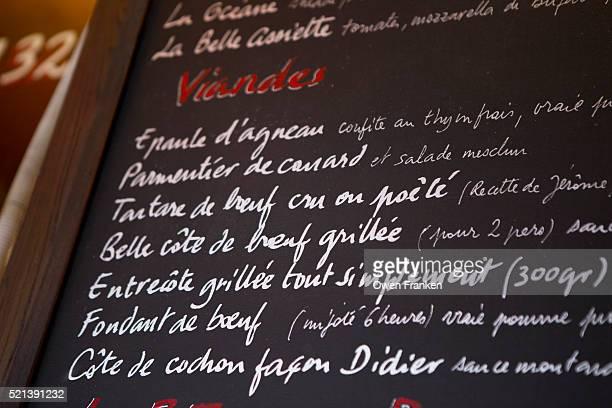 Bistro menu board, Paris, France