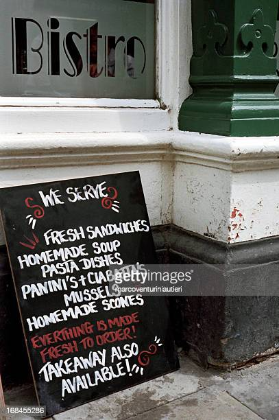 bistro menu - english, roadside - marcoventuriniautieri stock pictures, royalty-free photos & images