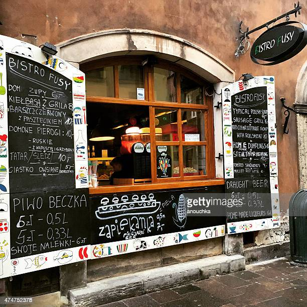 bistro selling traditional polish snacks and beer, warsaw - warsaw stock pictures, royalty-free photos & images