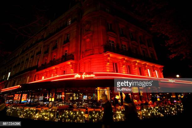 A bistro with Christmas decorations in central Paris France on November 24 2017
