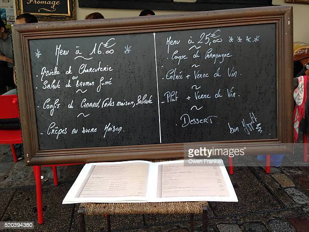 Bistrot blackboard menu with prices and specials, Paris