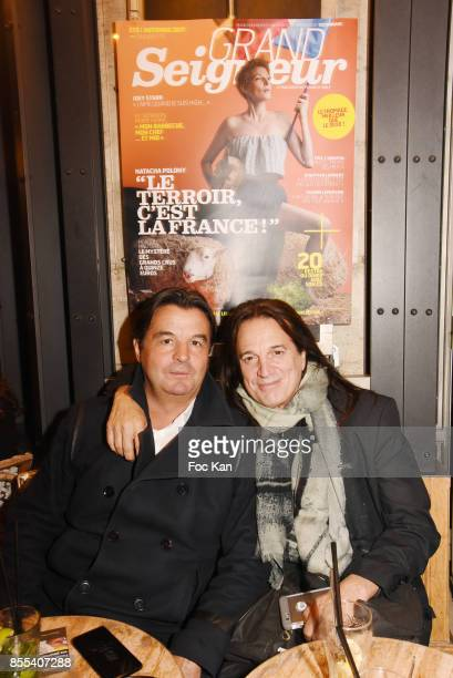 Bistrot Marguerite owner Alain Plaud and singer/actor Francis Lalanne attend the 'Apero Gouter' Cocktail Hosted by Le Grand Seigneur Magazine at...