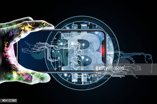 bit coins and iphones and android hands - blockchain foto e immagini stock