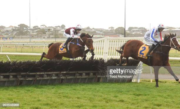 Bit of a Lad ridden by John Allen jumps during the Greg Bull Painting 1JW Hurdle at Warrnambool Racecourse on July 08 2018 in Warrnambool Australia
