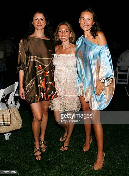 Bitak Bassiri Nicole Garone and Beata Bohman attend the Annual Clambake hosted by Hamptons Magazine at The Montauk Yacht Club on July 25 2009 in...