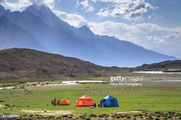 Bitanmal Campsite With Makrong Chhish, Biafo Hispar Snow Lake Trek, Central Karakoram National Park, Gilgit-Baltistan, Pakistan