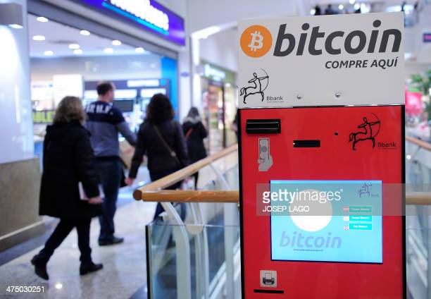 A bitcoin ATM is pictured in a commercial area of Barcelona on February 26 2014 Japanese authorities were today probing the troubled MtGox bitcoin...