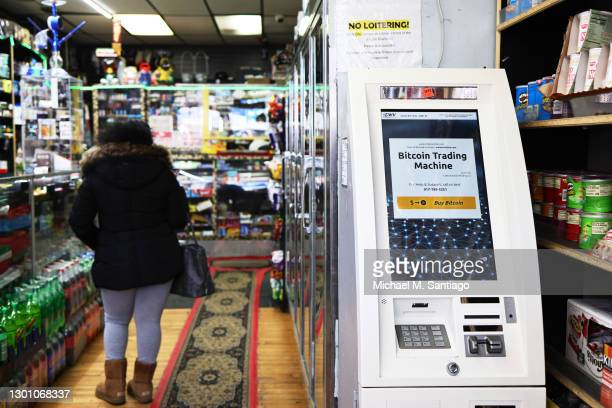 Bitcoin ATM is seen inside the Big Apple Tobacco Shop on February 08, 2021 in New York City. Tesla announced on Monday that it purchased $1.5 billion...