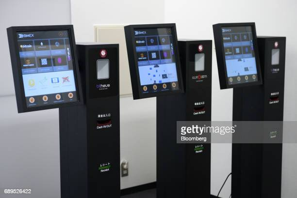 Bitcoin automated teller machines are displayed at the BITPoint Japan Co headquarters in Tokyo Japan on Thursday May 25 2017 BITPoint Japan the...