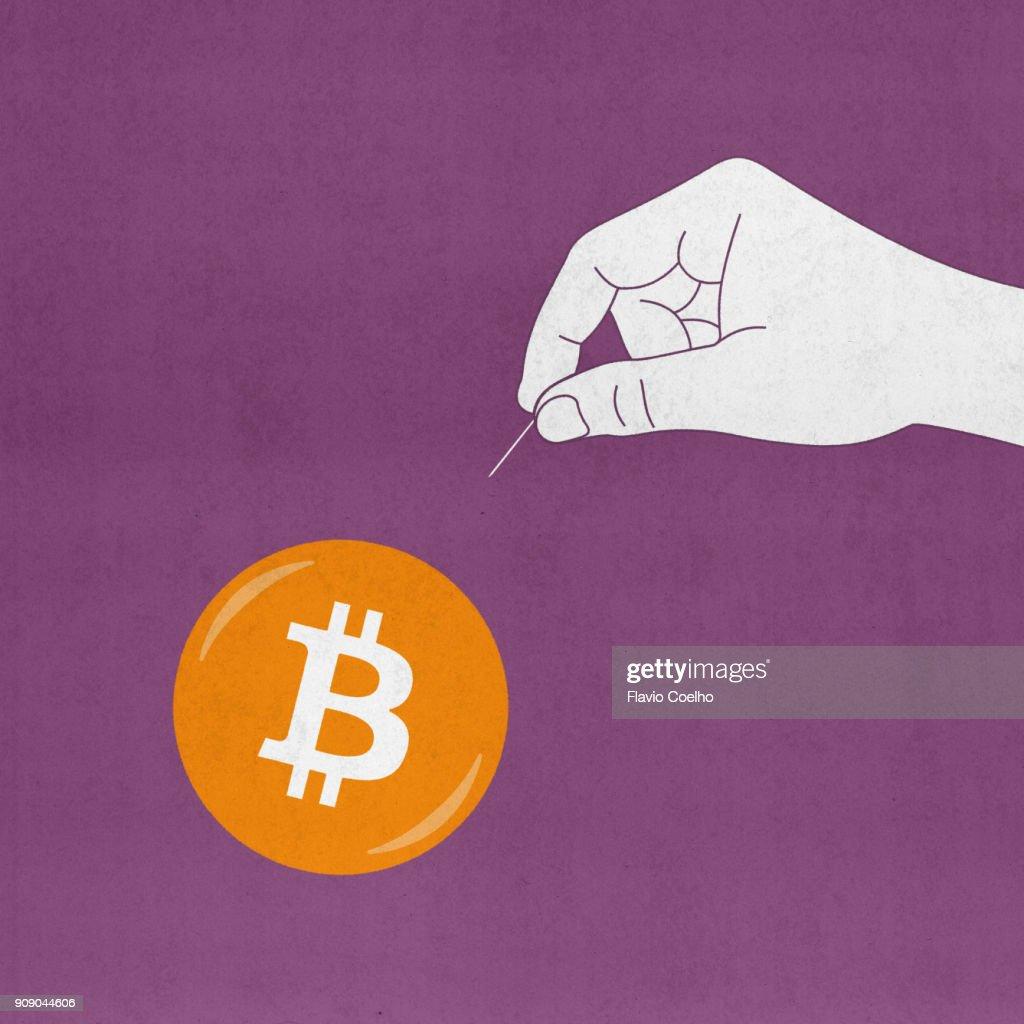 Bitcoin bubble about to burst illustration : Stock Photo