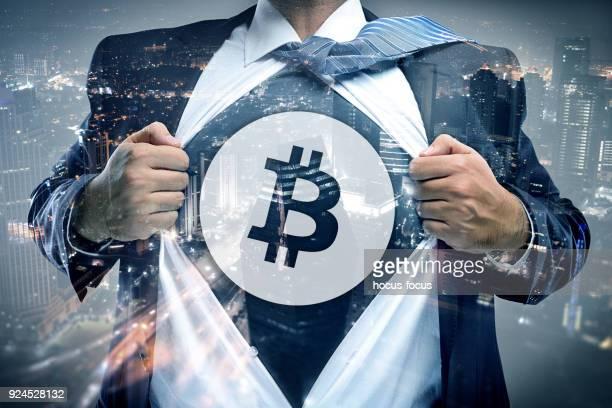Bitcoin Geschäftsmann Doppelbelichtung