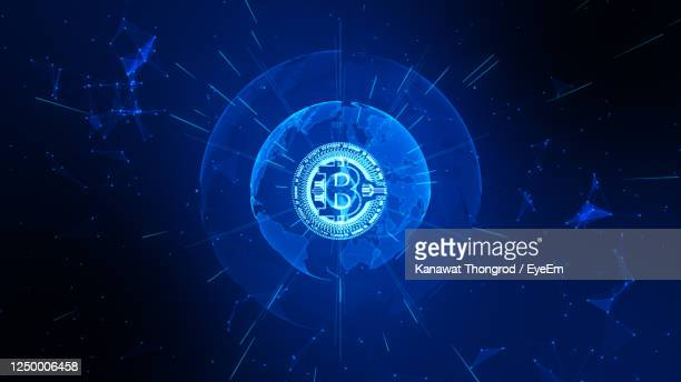 bitcoin cryptocurrency in digital cyberspace. technology network money exchange. - bitcoin stock pictures, royalty-free photos & images