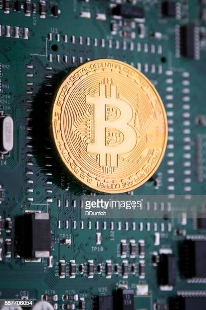 Bitcoin cryptocurrency on a circuit board