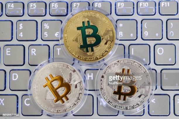 Bitcoin cryptocurrency symbolic coins are seen on this photo illustration in Gdansk Poland on 3 November 2017 The price of bitcoin reached alltime...