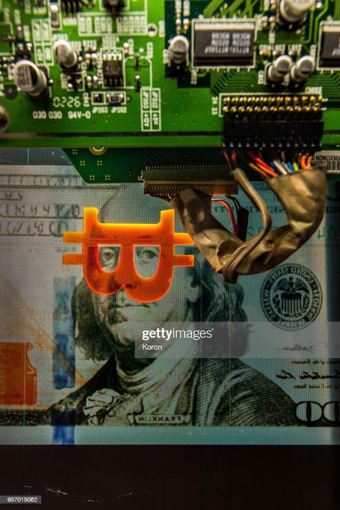 Bitcoin Dollar machine - cryptocurrency mining concept : Stock Photo