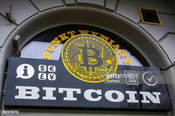 Bitcoin exchange shop at Grzegorzecka Street in Krakow Poland on 15 March 2018