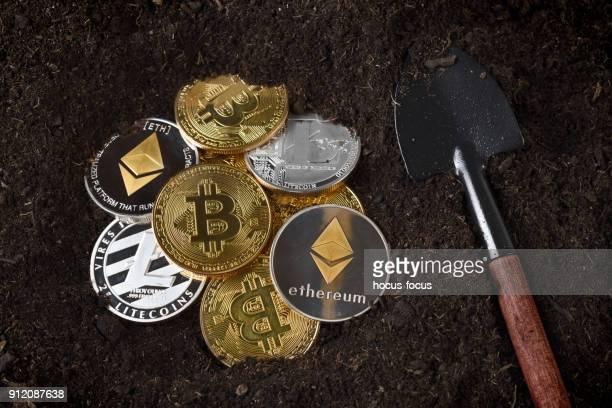 bitcoin litecoin ethereum mining - cryptocurrency mining stock photos and pictures