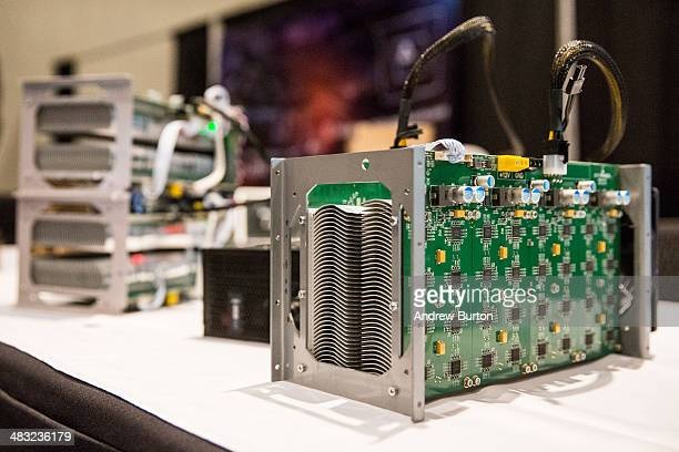 Bitcoin mining hardware is displayed at a Bitcoin conference on at the Javits Center April 7 2014 in New York City Topics included market places to...