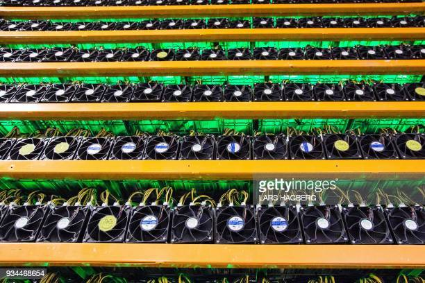 Bitcoin mining is viewed at BitFarms in Saint Hyacinthe Quebec on March 19 2018 Bitcoin is a cryptocurrency and worldwide payment system It is the...