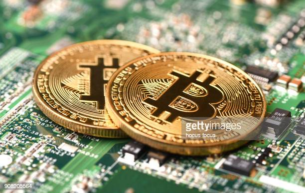 bitcoin mining - bank icon stock photos and pictures