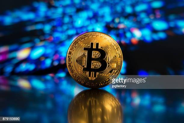 bitcoin on a led technological light surface