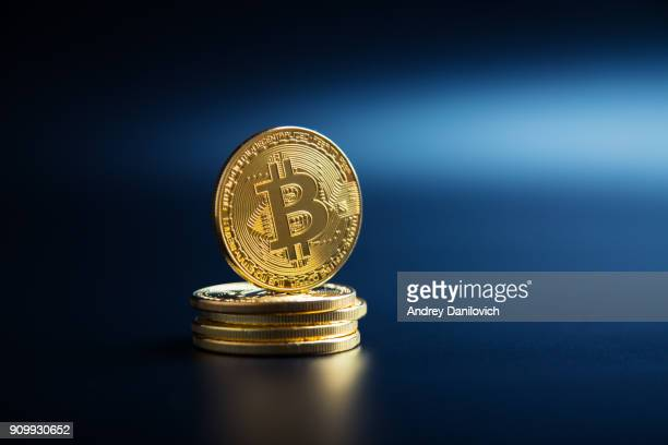 Bitcoin on the black background