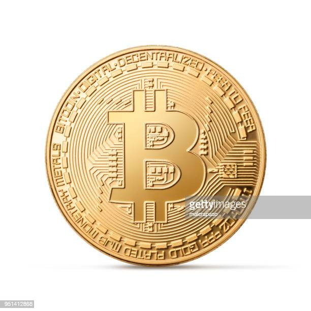 bitcoin on white background - bitcoin stock photos and pictures