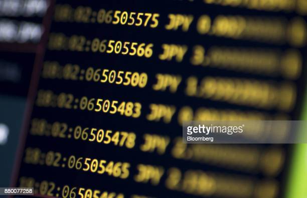 Bitcoin prices against Japanese yen are displayed on a computer monitor during trading of virtual currencies in Tokyo Japan on Wednesday Aug 30 2017...