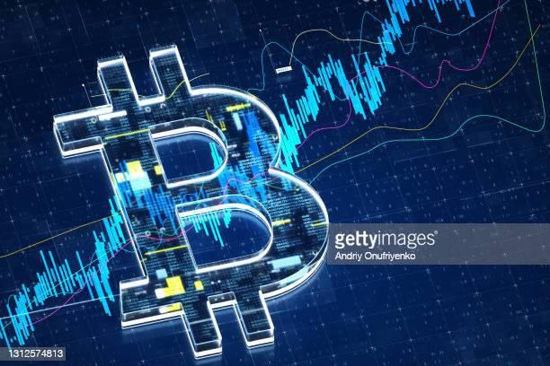 Bitcoin sign stock market data.