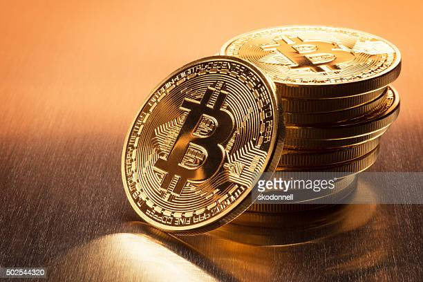 bitcoin stack - bitcoin stock photos and pictures