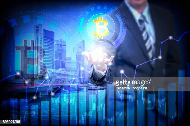 Bitcoin stock on virtual screen cryptocurrency graph. Business finance and digital technology concept