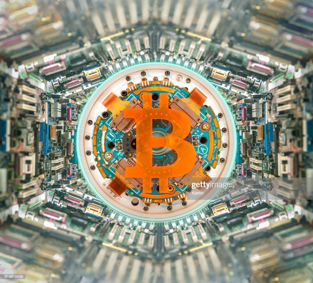 Bitcoin super computer - mining machine concept : Stock Photo
