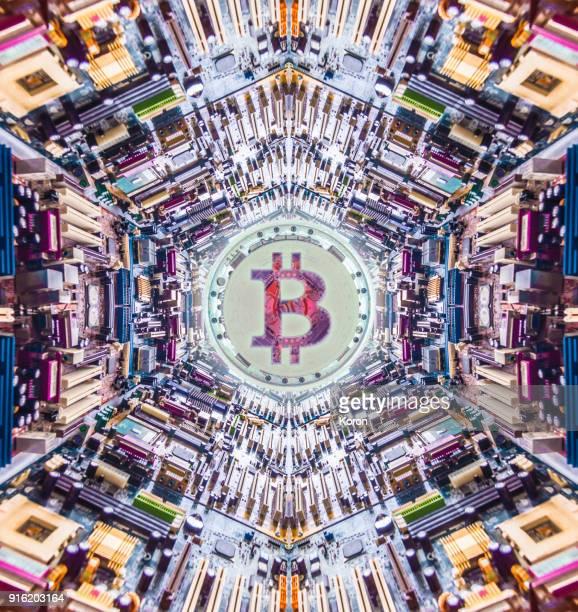 bitcoin super computer - mining machine concept - bitcoin stock-fotos und bilder
