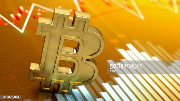 金融チャートを使用したビットコインシンボル - 仮想通貨マイニング ストックフォトと画像