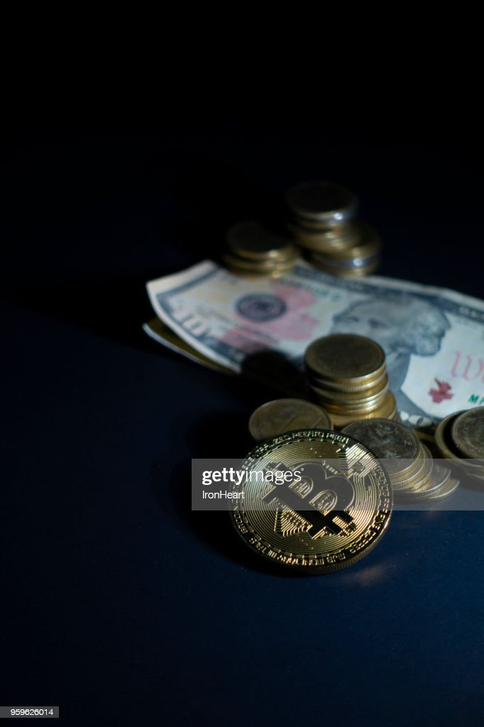 Bitcoin with money as in Business concept. : Stock-Foto