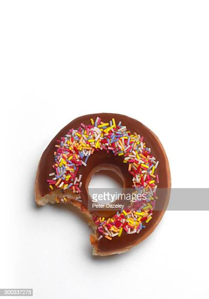 Bite out of donut with copy space